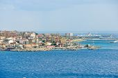 pic of messina  - port and lighthouse in Villa San Giovanni of city Reggio di Calabria from Strait of Messina Italy in summer day - JPG