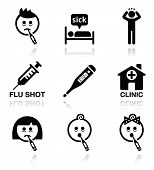 picture of high fever  - Medical icons set  - JPG