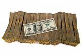 stock photo of 100 dollars dollar bill american paper money cash stack  - American dollar stack isolated on the white - JPG