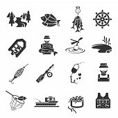 stock photo of fish icon  - Set of fish fisher hobby leisure icons in black gray color isolated on white vector illustration - JPG