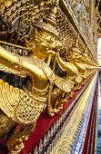 stock photo of garuda  - The row of a golden Garuda sculpture  - JPG