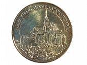 image of mont saint michel  - Souvenir coin with image of Mont saint Michel isolated on a white background - JPG