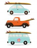 stock photo of beetle car  - Three retro style cars with surf boards - JPG