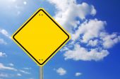 foto of road sign  - blank and empty yellow road sign with copyspace - JPG