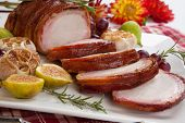 picture of roasted pork  - Closeup of delicious one piece roasted bacon  - JPG