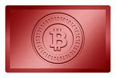 picture of bronze silver gold platinum  - Red colored metal texture with bitcoin logo stamp on it and clippingpath for white removal - JPG