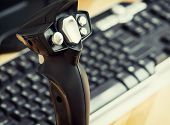 image of peripherals  - Detail view of game joystick with keyboard - JPG
