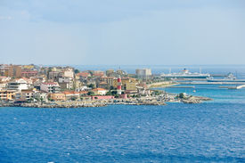 picture of messina  - port and lighthouse in Villa San Giovanni of city Reggio di Calabria from Strait of Messina Italy in summer day - JPG