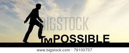 Concept conceptual 3D human man or businessman as black silhouette stepping over impossible or possible text at sunset banner