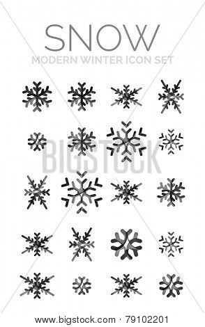 Modern Creative Christmas snowflake icon set, frost symbol