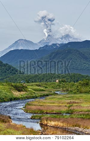 Mountain landscape: eruption Zhupanovsky Volcano on Kamchatka