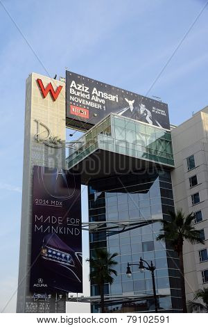 Big Red W And Drais Signs With Ads For Aziz Ansariand Acura On The Side Of The Modern W Hotel Hollyw