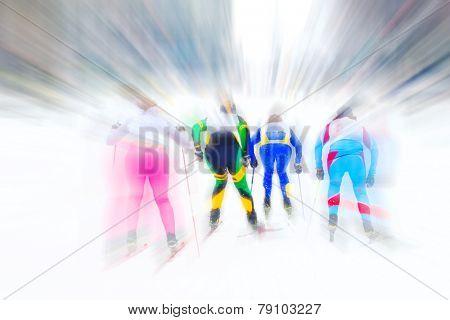 Cross country ski racers. Motion blur.