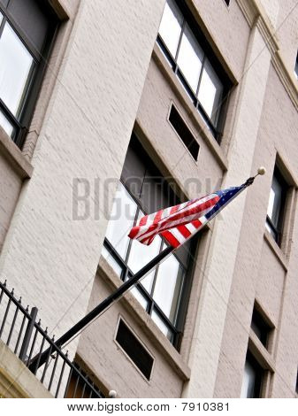 Flag On Side Of Building