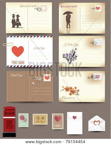 Vintage postcard designs, love postcard