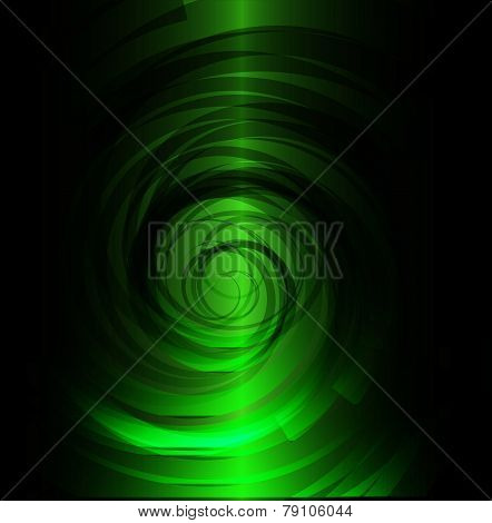 Green and black spiral background