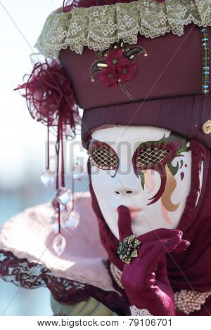 Red Hushing Mask At The Carnival Of Venice