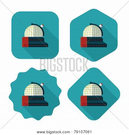 Space Astronomical Observatory Flat Icon With Long Shadow,eps10
