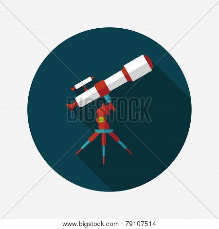 Space Telescope Flat Icon With Long Shadow,eps10