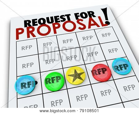 RFP Request for Proposal words on a bingo card to illustrate competition in business to win new customers seeking quotes, prices and costs on products or services