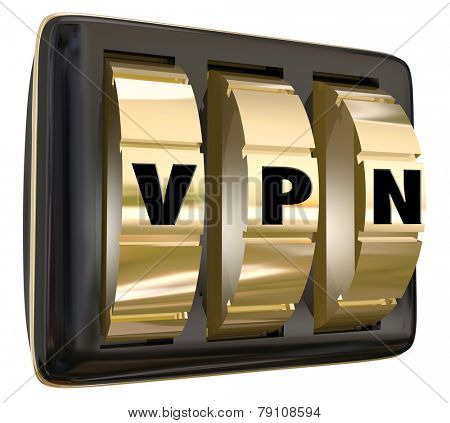 VPN letters on lock dials to create a secure server or connection in a Virtual Personal Network for safe communication and sharing of data or ideas