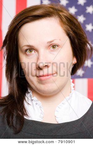 Bandera de joven mujer retrato, Usa como fondo