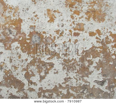 Worn Orange Gray White Painted Wall With Paint Chip Blathering