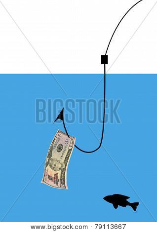 Money Attached To A Fishing Hook
