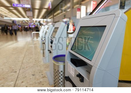 GENEVA - SEP 15: Airport interior on September 15, 2014 in Geneva, Switzerland. Geneva International Airport is the international airport of Geneva, Switzerland