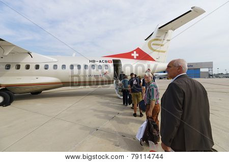 VERONA - SEP 15: ATR-72 in Verona airport on September 15, 2014 in Verona, Italy. ATR 72 is a twin-engine turboprop short-haul regional airliner built by the French-Italian aircraft manufacturer ATR