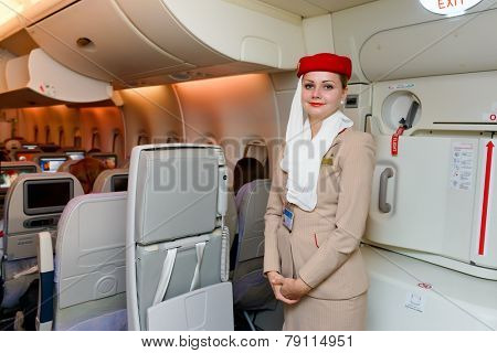 MOSCOW -JUNE 04: Emirates crew member on June 04, 2014 in Moscow, Russia. Emirates handles major part of passenger traffic and aircraft movements at the airport.