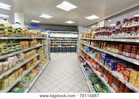 GENEVA - SEP 15: supermarket interior on September 15, 2014 in Geneva, Switzerland. Geneva is the second most populous city in Switzerland and is the most populous city of Romandy