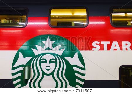 GENEVA - SEP 15: Starbucks cafe train coach on September 15, 2014 in Geneva, Switzerland. Starbucks is the largest coffeehouse company in the world, with more then 23000 stores