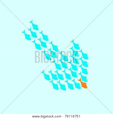 School Of Fish Swimming In Shape Of Down Arrow