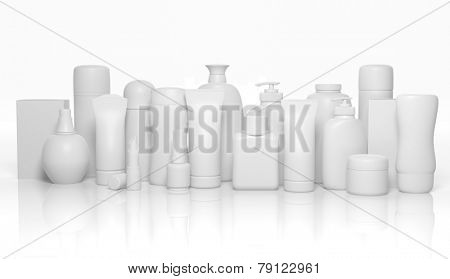 Various 3D blank personal care products mockup isolated on white