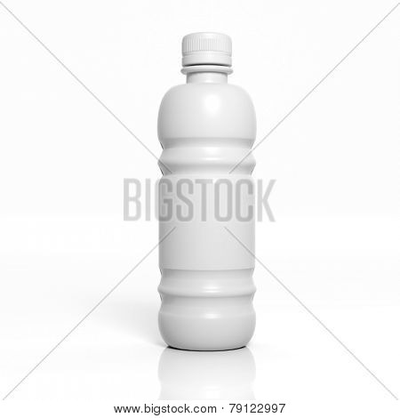 3D blank product plastic bottle mockup isolated on white