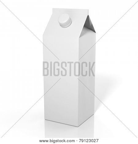 3D blank beverage box mockup isolated on white