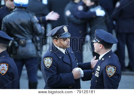 NYPD officers outside Christ Tabernacle Church
