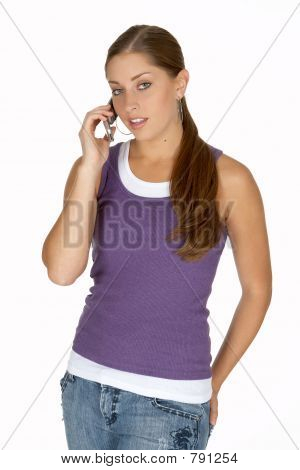 Young Woman in Purple Tank Top on Cell Phone