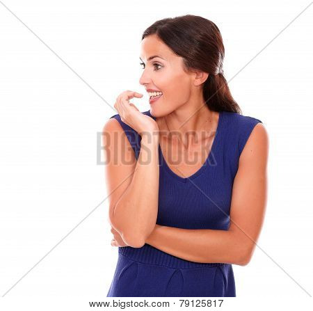Pretty Hispanic Woman Smiling With Excitement