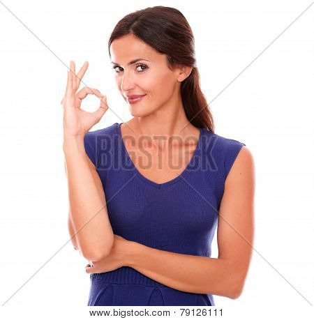 Happy Single Female Gesturing A Great Job