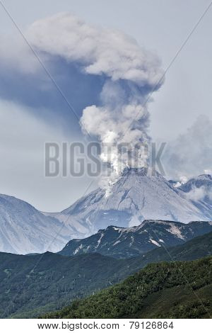 Mountain landscape: eruption active volcano