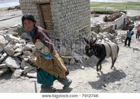 Old woman walking with a donkey