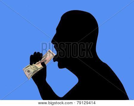 Silhouette Of Man Eating Money 01