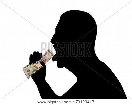 Silhouette Of Man Eating Money 02