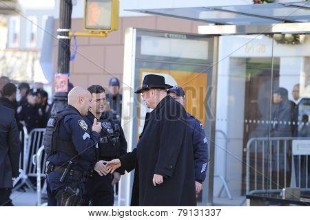Timothy Cardinal Dolan greets NYPD