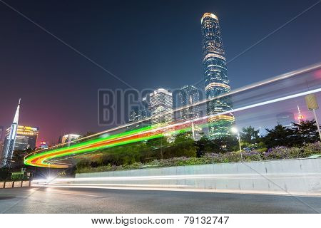 Light Trails On The City Road