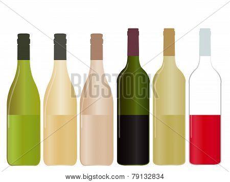 Different Kinds Of Wine Half Full Bottles