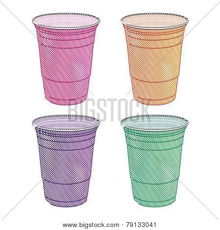 Party Cups In Pastel Colours Pencil Style