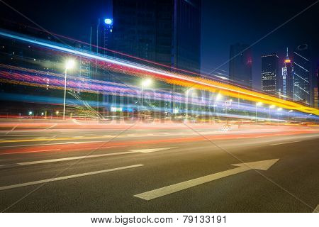 Beautiful Street At Night With Light Trails